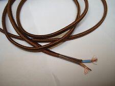 1,5 m fil gainé tissu marron méplat 2 brins 2 x 0,5 mm2 câble électrique