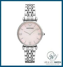 NEW Ladies Emporio Armani Pink MOP Dial Stainless Steel Watch-AR1779-RRP-£289