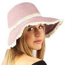 UPF 50+ Beach Summer Lace Trim Floppy Wide Brim Visor Packable Sun Hat Pink
