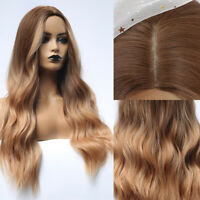 Synthetic Wigs Ombre Brown Black Long/Short Wavy Natural Hair Wig Party