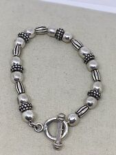 Sterling Silver Beaded Toggle Bracelet 23 Grams. Th1-15
