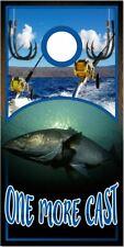 Stiper Bass Fish One More Cast LAMINATED Cornhole Wrap Bag Toss Decal Sticker