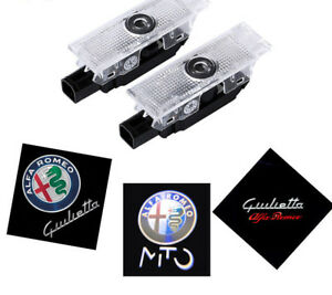 2X Led Door Light Projector Logo Emblem HD For Alfa Romeo Giulietta Mito Giulia