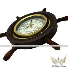 "Antique Marine Captain Nautical Decor 14"" old Vintage Clock Wood Helm Shipwheel"
