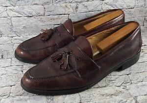 Johnston & Murphy Men Slip-On Burgundy Leather Tassel Dress Loafers 11.5M ITALY