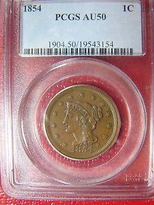 1854 Large Cent Braided Hair  PCGS AU 50 Cert# 19543154 REDUCED