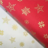 Christmas Fabric 100% Cotton Red, or Cream with Gold Stars and Snowflakes