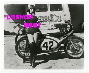 Sexy woman leggy legs camel toe Motorcycle Show Vintage Photo SUZUKI Buco helmet