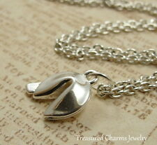 Silver Fortune Cookie Charm Necklace  - Good Luck Chinese Food Jewelry NEW