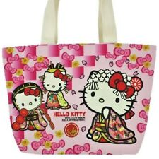 Sanrio Hello Kitty Japanese pattern Canvas Tote Bag KIMONO MIYABI  Pink Ribbon
