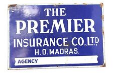 Old Advertising Enamel Sign Board The Premier Insurance Co. Ltd. Collectible B6