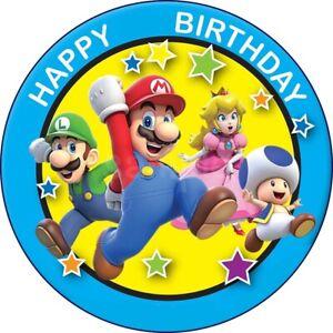 Mario Super Eßbar Muffin Torten-Bild-Aufleger Party Deko Geburtstag Neu Muffin