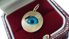 HALLMARKED 9ct Yellow Gold 18mm Evil Eye Sunburst Design Pendant - Gift Boxed