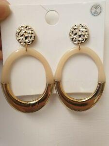 On Trend Gold Tone Hammered Resin Acrylic Oval Hoop Drop Geometric Earrings