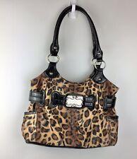 Sienna Ricchi Sateen Cheetah Print Large Hobo Shoulder Bag Purse Audio Pocket