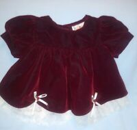Vintage Adorable Valour Dark Red  Dress Toddler Girls Holiday Sz 6 Months Usa