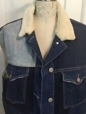Isabel Marant Patchwork Denim Jacket Vest Faux Sherpa Fur Size 1