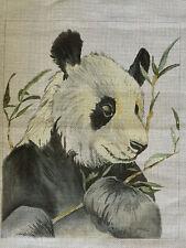 PANDA BEAR with BAMBOO HANDPAINTED NEEDLEPOINT CANVAS LARGE 15.5 x 13