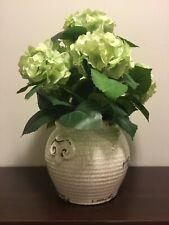 Artificial Hydrangea Arrangement in White Rustic Ceramic Vase.