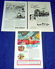 Lot of 3 SAN DIEGO CA Tourism Ads~ 1929,1947,1958 ~Fishing,Swimming,Balboa Park+