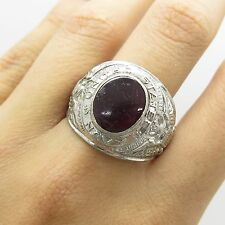 Vtg 925 Sterling Silver Red C Z US Military Navy Signet Ring Size 11