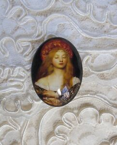 Medieval Lady 30X40mm Glitter Unset Handmade Glass Art Bubble Cameo Cabochon