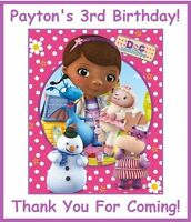 """(18)Personalized Doc McStuffins Party Stickers,3 1/4"""",Birthday Favors Bag Labels"""