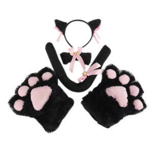 5pcs/set Cat Cosplay Costume Cat Tail Ears Collar Paws Gloves Set Cute*q*