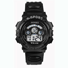 Waterproof Watch Men Boy's Digital Led Quartz Alarm Date Sport Wrist Watch Black