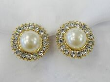 Gold Rhinestone Crystal Pearl CLIP ON  Earrings # 44302 Clip Earrings Wedding