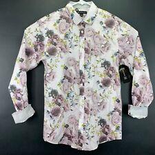 New INC International Concepts Floral Print White Hawaiian Button Down Shirt