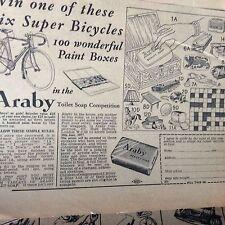 t1-9 ephemera advert 1950s araby toilet soap bicycle offer