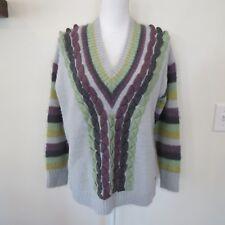 Smash! Womens Sz Small Barcelona Sweater PullOver Long Sleeve Fuzzy Stripe Blue