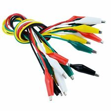 10 x Alligator / Crocodile Croc Clip Coloured Test Leads Double Ended