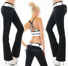 Ladies Hip Jeans Trousers Flare Flares Bootcut Denim Black Stretch Zip Belt