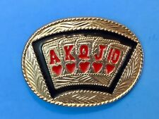Western royal straight flush card hand gambling poker game deck Belt Buckle