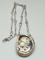 Handarbeit-Unikat Muschel Collier mit Perle 925 Silber Meisterpunze HB /A312