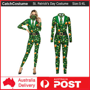 St. Patrick's Day Women Girls Costume Jumpsuit Bodysuit Cosplay Party Fancy Up