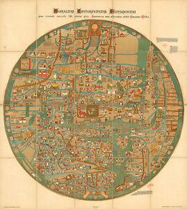 1898 Flat Earth Mappa Mundi World Map Gervase of Ebstorf Monialium Ebstorfensium