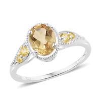 Brazilian Citrine Simulated Yellow Diamond 925 Sterling Silver Ring TGW