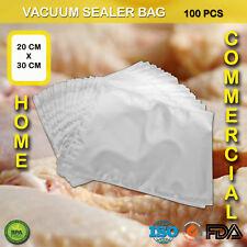 100 X VACUUM SEALER BAGS PRECUT FOOD STORAGE SAVER HEAT SEAL CRYOVAC 20CM X 30CM