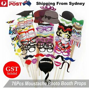 76Pcs Moustache Photo Booth Props Birthday Mask Lips Party Selfie Wedding Hens A