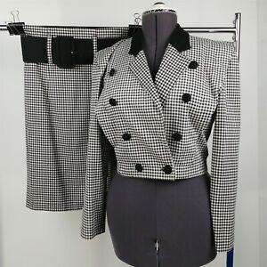 A. Byer Black & White Checkered Plaid Skirt Suit Set Juniors Size 9 / L