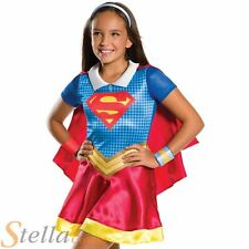 Girls Supergirl Costume Superhero Fancy Dress DC Comics Child Outfit