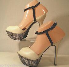 Sam & Libby Peep Toe Stiletto Heel Platform Shoes White Vegan Leather Women 7.5M