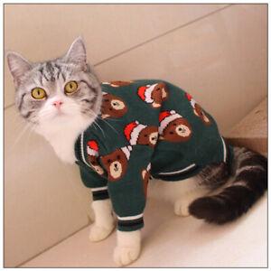 Pet Cat Kitten Christmas style Bear&Christmas hat sweater short coat For Dog Cat