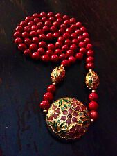 Stunning Vintage Hand Knotted Glass Beaded Cloisonne Floral Pendant Necklace 30""