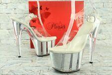 "Pleaser Women's US 7 M Clear Glitter Inserts 7"" Heel Ankle Strap Sandals D512"