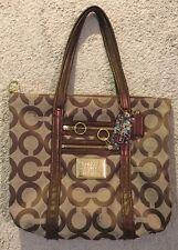 Coach Poppy Op Art Glam Tote Brown Khaki Signature Logo Handbag 13826