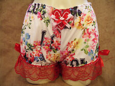 Floral,Hawaiiaan baseball print bloomers with heart! 1950's,pin-up,valentines! X